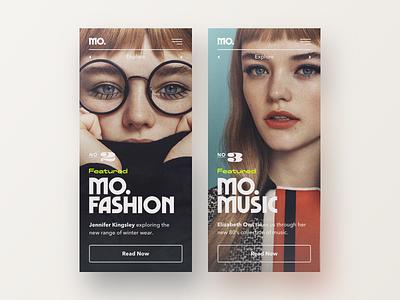 Mo. Mobile Art Direction ui article typography trends music type design vintage celebrity fashion blog app mobile