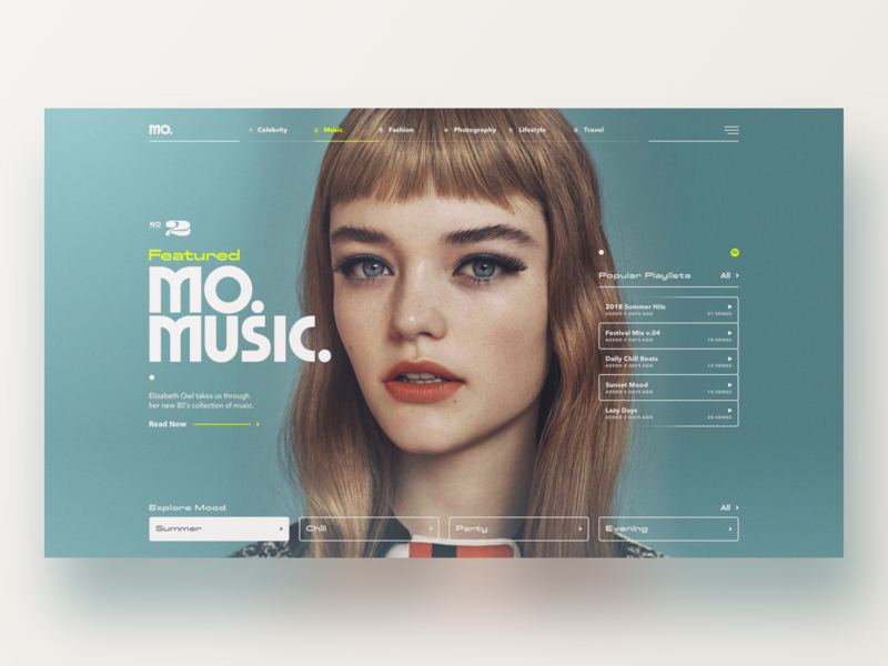Mo. Desktop music vintage web ux ui trends fashion article blog typography type app desktop