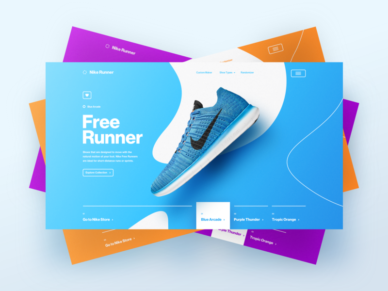 Free Runner Art Direction sport desktop ux ui colours app campaign design art direction cards running shoes nike website