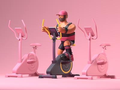 Spinning gym illustration character design 3d