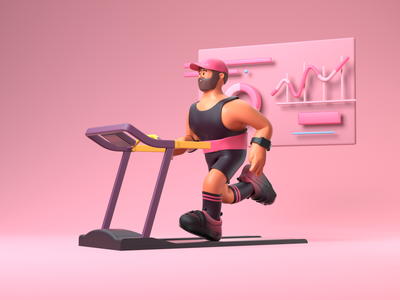 Runing everyday gym illustration character design 3d