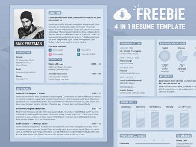 🤘 Freebie — PSD Resume Template free freebie resume template resume psd design template cv cover letter business card