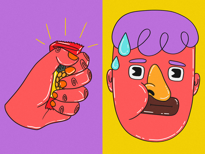 candy anxiety anxious diet hungry procreate foodie hand face pineapple candy candies people illustration illustration