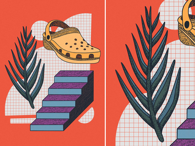 do you ever feel like a croc noise texture fashion stairs plant abstract dreamy crocs procreate illustration