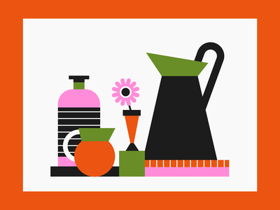 still life kitchen limited palette illustrator still life vectorart shapes vector illustration