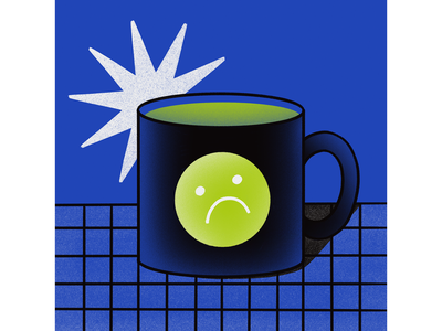 monday vibes smiley face sad mug monday limited colour palette illustrator flat illustration procreate illustration