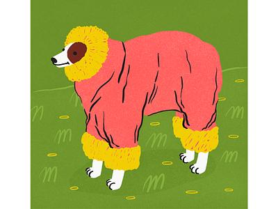early spring doggo dog illustration winter clothes green cold spring winter jacket dog limited colour palette flat illustration procreate illustration