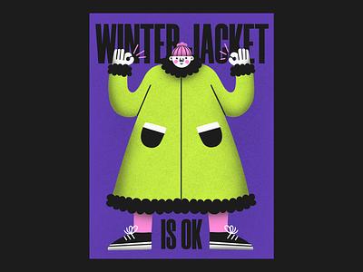 winter jacket is ok ok winter jacket winter people people illustration illustrator limited palette limited colour palette flat illustration procreate illustration