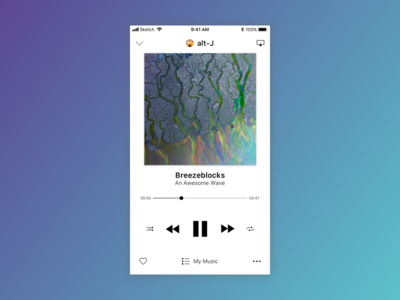 Music Player - Daily UI 009 mobile app dailyui ux ui sketch
