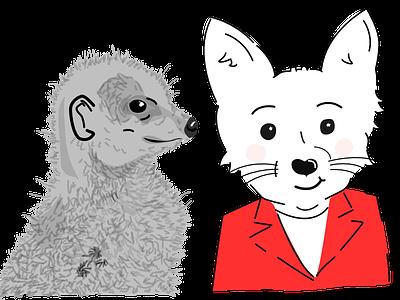 Unfinished, not very good, half-way... fox meerkat illo