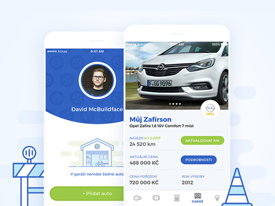Carolina App mockup flat profile mobile design illustration dashboard app sky car