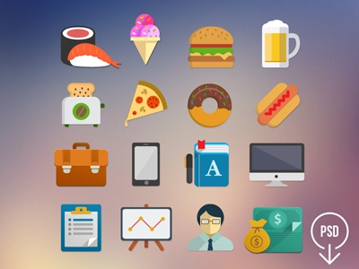 Free Flat Icon Set - Part 1 free flat flat icon icon flat freebie free psd design set