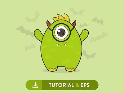 Cute Monter Tutorial & Free EPS monster tutorial ghost evil halloween free freebie vector cute kawaii monster tuts tutorial