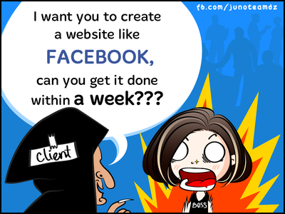 Fun Comics: Create a website like FACEBOOK!!!! boss client design funny website facebook stories story fun comic junoteam