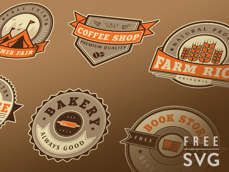 Free badge set mockup 800x600