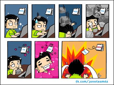 Monday Funny Comic working illustration funny weekend junoteam strory comic fun calendar developer designer monday