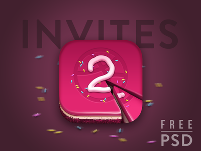 Dribbble Invite Cake - Free PSD icon is included freebies free ios psd design invite dribbble birthday anniversary cake junoteam