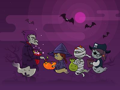 HAPPY HALLOWEEN animated header vampier animated holiday website animation monster illustration hallowee flat junoteam