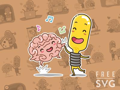 Free IDEA and BRAIN sticker set creative designer brain idea emotion icon free emoji sticker freebies junoteam