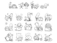 Free IDEA and BRAIN emoji sketching