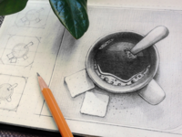 Coffee app icon sketching