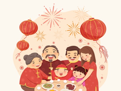 Lunar New Year Family Meal cute chinese new year firework happy holidays golden holiday happy celebration cute chinese chinese new year party happy new year lunar new year lunar year of pig new year traditional family happy family new year family lunar family