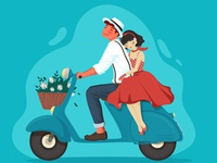 Valentine Retro Couple on Vespa