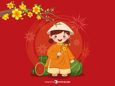 Lunar New Year Kid in Traditional clothes happy celebration party happy new year lunar apricot flower apricot apricot blossom chung cake banh chung traditional food traditional cake traditional new year kid ao dai traditional dress traditional clothes chinese new year lunar new year new year