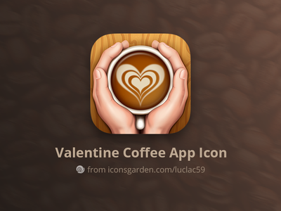 Valentine Coffee app icon junoteam iconsgarden hold glass cup wood food love drink warm hot cappuccino hand coffee valentine android ios app icon