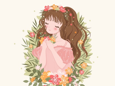 Spring Floral Woman portrait illustration garden spring grunge art beauty wallpaper nature texture summer portrait face hair beautiful lady fashion floral background flower spring girl floral woman girl woman