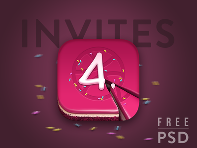 2 Dribbble Invitation - Free PSD Cake icon is included anniversary cake dribbble cake free cake icon junoteam anniversary free psd free icon dribbble invitation dribbble invites