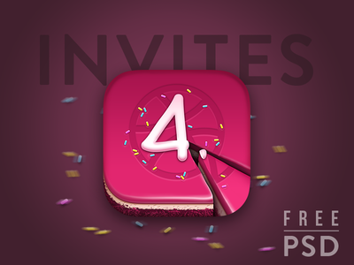 2 Dribbble Invitation - Free PSD Cake icon is included