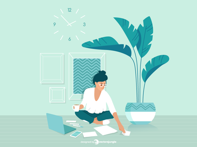 A freelancer woman working at home workspace work plant office illustrator boss
