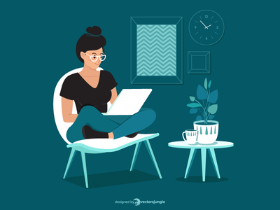 A freelancer woman working at home illustration chair sofa work at home freelancer woman workspace work plant office illustrator boss