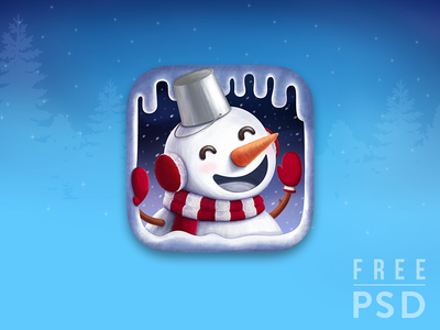 Free PSD Christmas Snow man app icon smile face man holiday noel icing cave snow ice