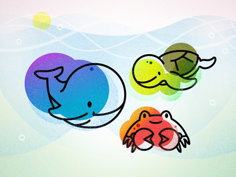 Kawaii Ocean Creatures (revised) childlike waves texture underwater ocean sea whale sea turtle crustacean kawaii art kawaii