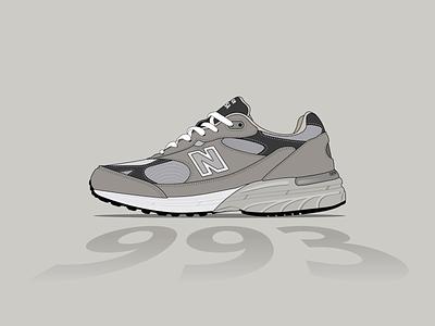 new balance 993 branding vector flat illustration