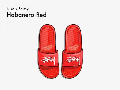 nike x stussy slippers illustration