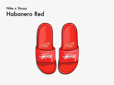 nike x stussy slippers illustration