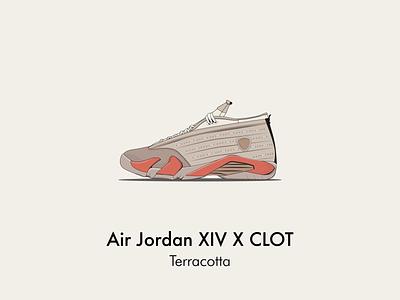 AJ 14 x clot air jordan vector illustration