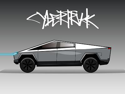 tesla cybertruck flat vector illustration