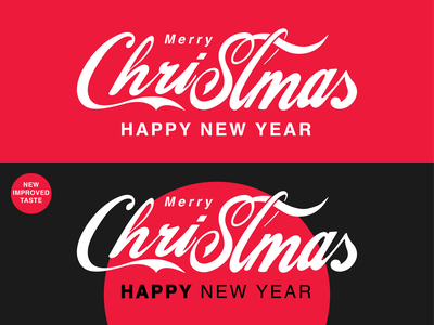 Merry Christmas and Drink Coke calligraphy illustration