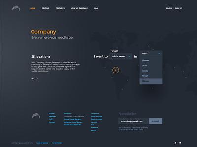 Cloud company marketing website orange grey ux ui website noscroll form navigation homepage