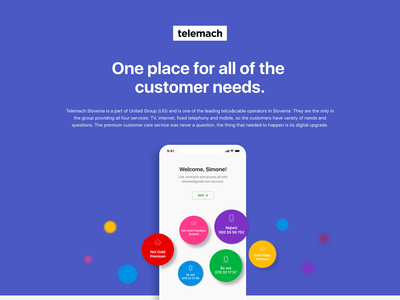 Telemach selfcare app ux ui portfolio telco service profile registration android ios app selfcare