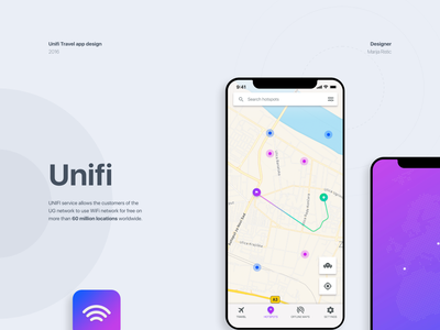 UNIFI Travel app ux ui travel map ios directions details app android