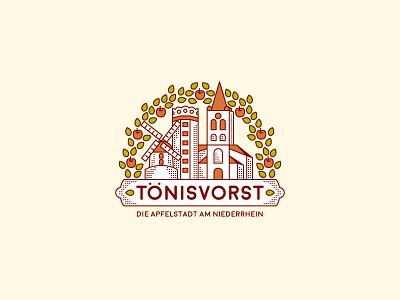 Toenisvorst - The City of Apples illustration home local leaf line art logo emblem badge town apple