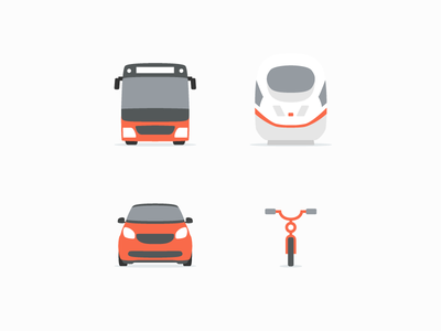 Hit the road illustrator minimal bicycle train bus car illustration