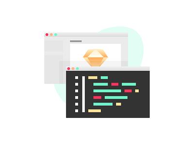 Handing over Design collaboration code design ui sketch illustration