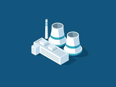 Power Plant atom nuclear building energy illustration