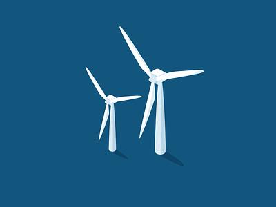 Windmills windmill design isometric illustration green energy
